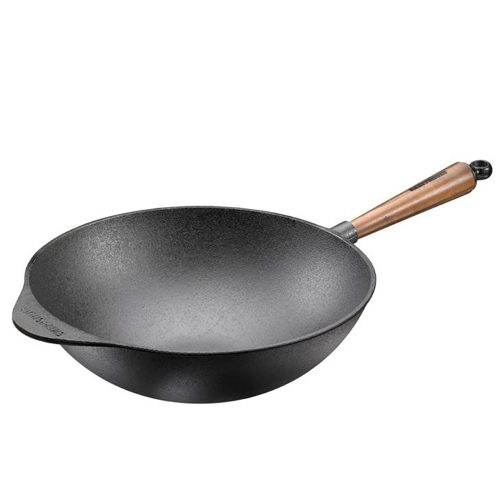 Poele wok Ø32 cm - Poignée en Noyer